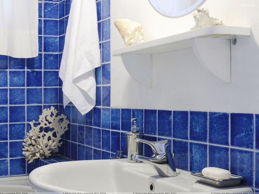 Minimalist Blue Bathroom Interior Color Idea