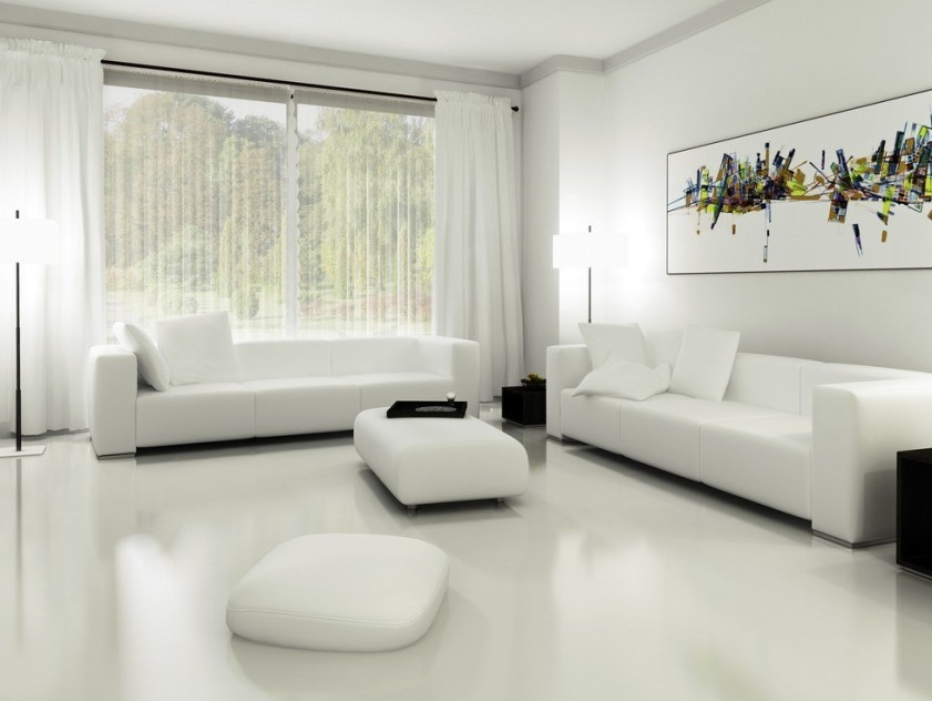 Minimalist White Living Room Budget
