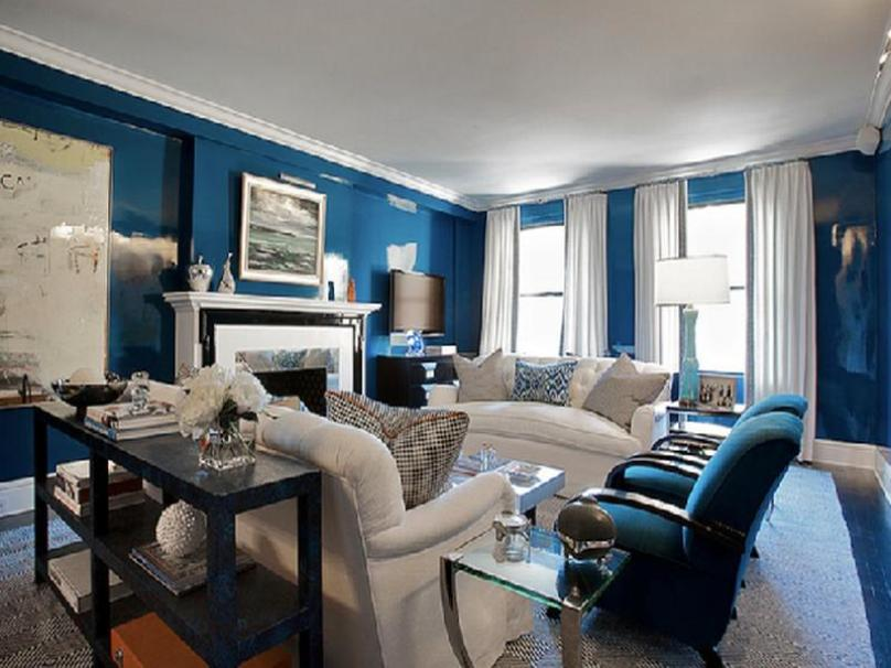 Modern Blue Living Room Interior Color