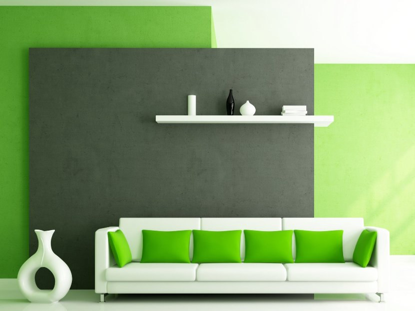 Modern Interior Design With Green Theme