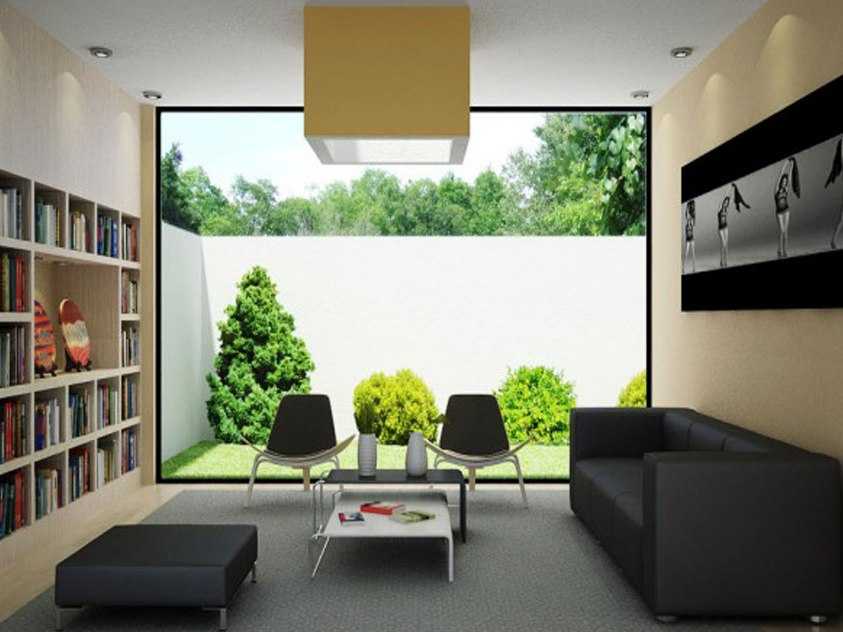 Modern Living Room Design With Garden View