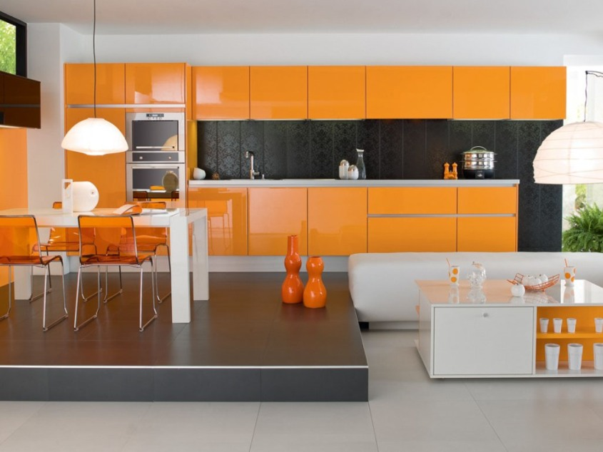 Orange Colors To Make Kitchen Look Bigger
