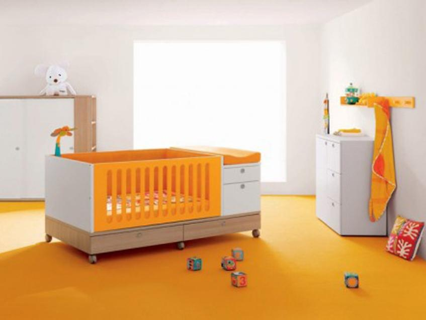 Simple Baby Bedroom With Orange White Color