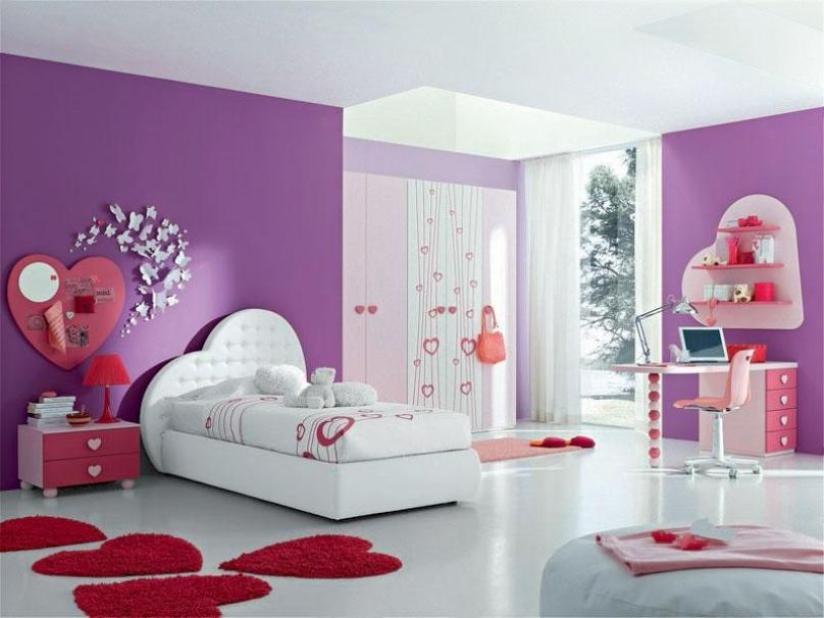Simple Bedroom Design With Purple Theme