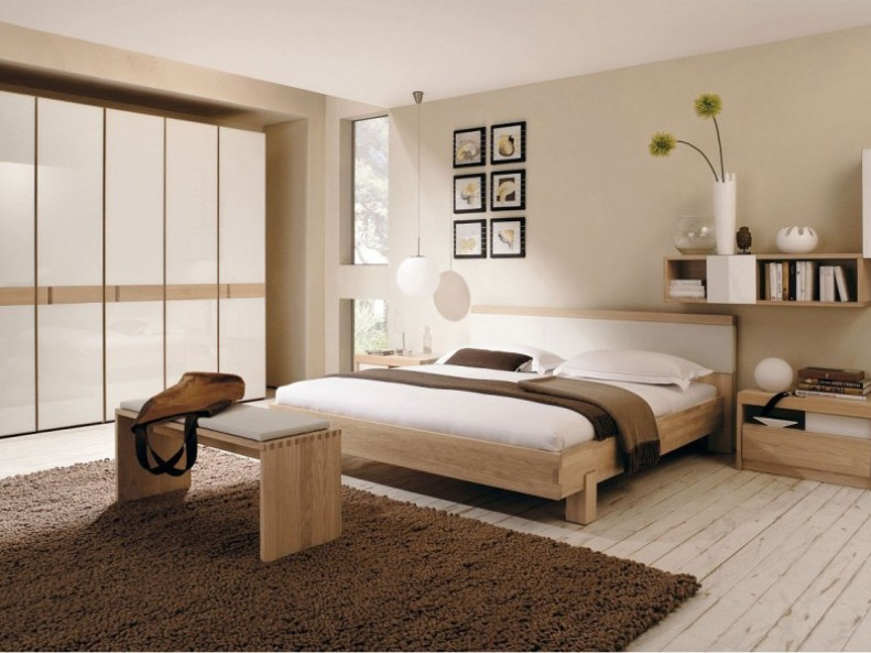 Simple Brown White Bedroom Paint Color