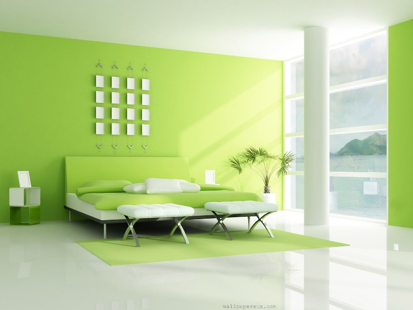 Simple Green White Bedroom Interior Design