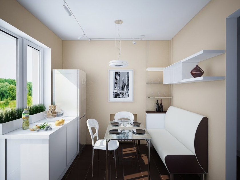 White Kitchen Set Design In Small Room