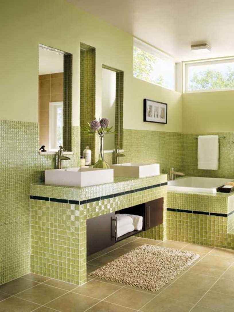 Green Ceramic To Make Bathroom Look Nice