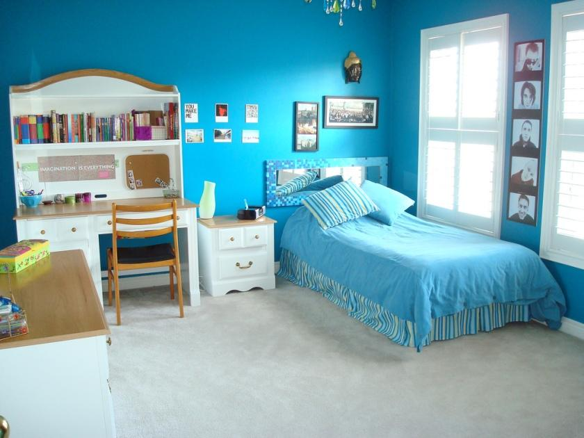 Minimalist Blue Bedroom Design For Teenage