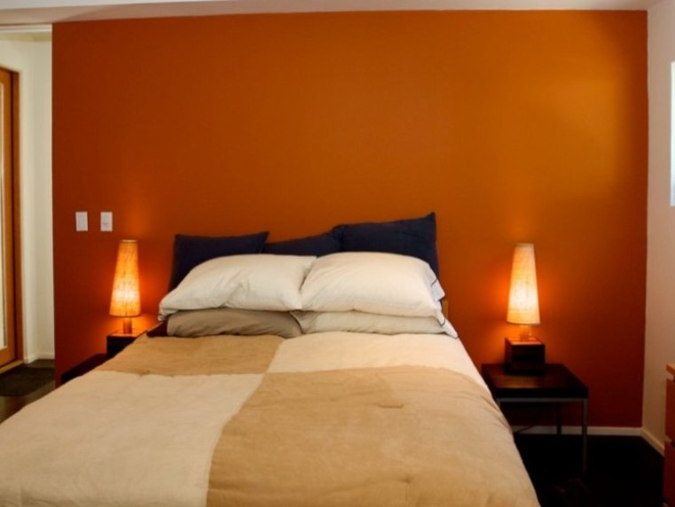 Orange Wall Paint To Make Room Spacious