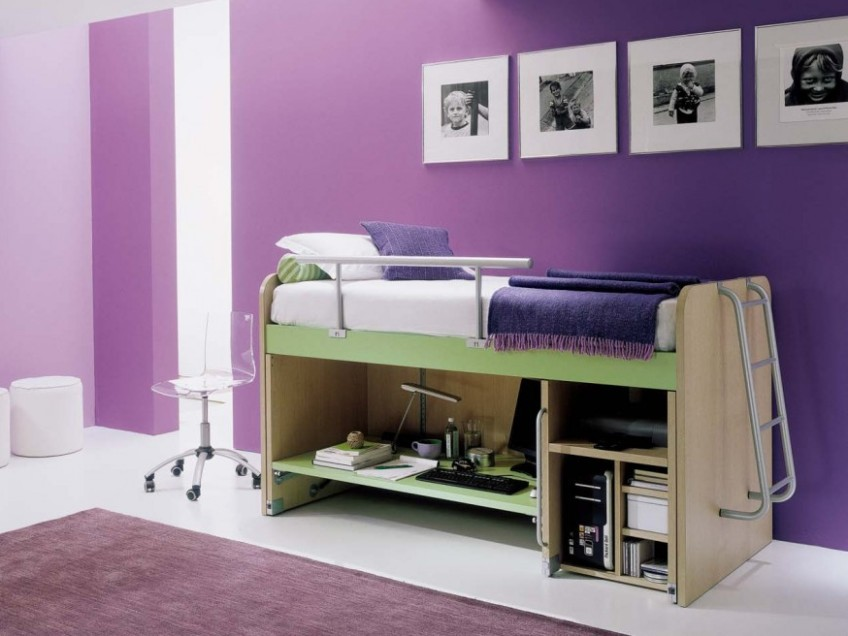 Purple Color Idea For Multifunctional Bedroom