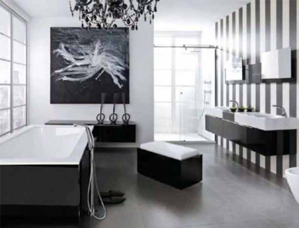 Black White Color Idea For Attractive Bathroom