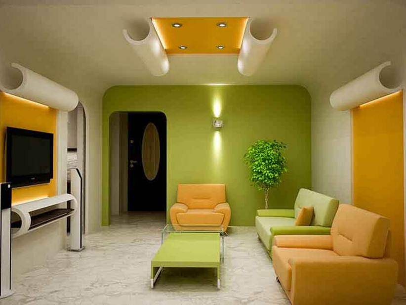 Green And Yellow Living Room Interior