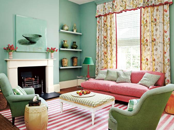 Living Room Design With Mint And Salmon Color