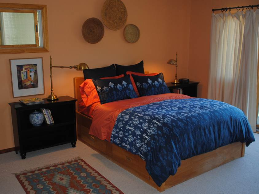 Minimalist Peach And Cobalt Bedroom Color Idea