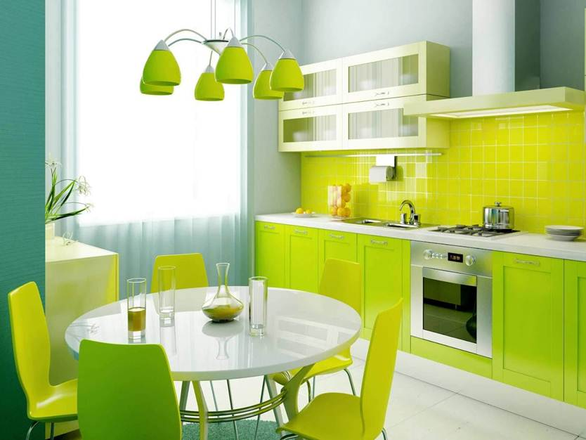 Nice Green And Yellow Combination For Kitchen