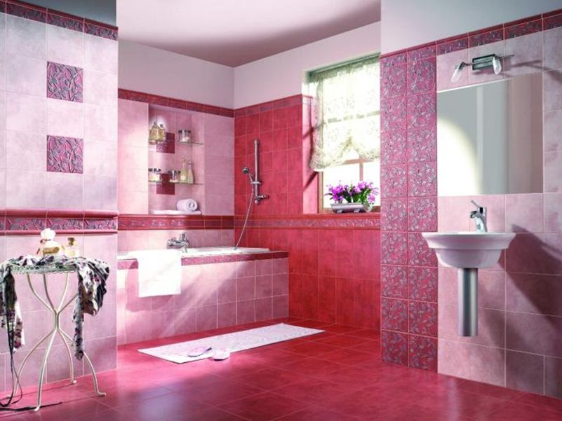 Pink Paint For Attractive Bathroom Interior