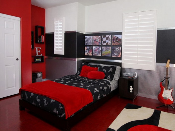Red Theme Idea For Teen Bedroom