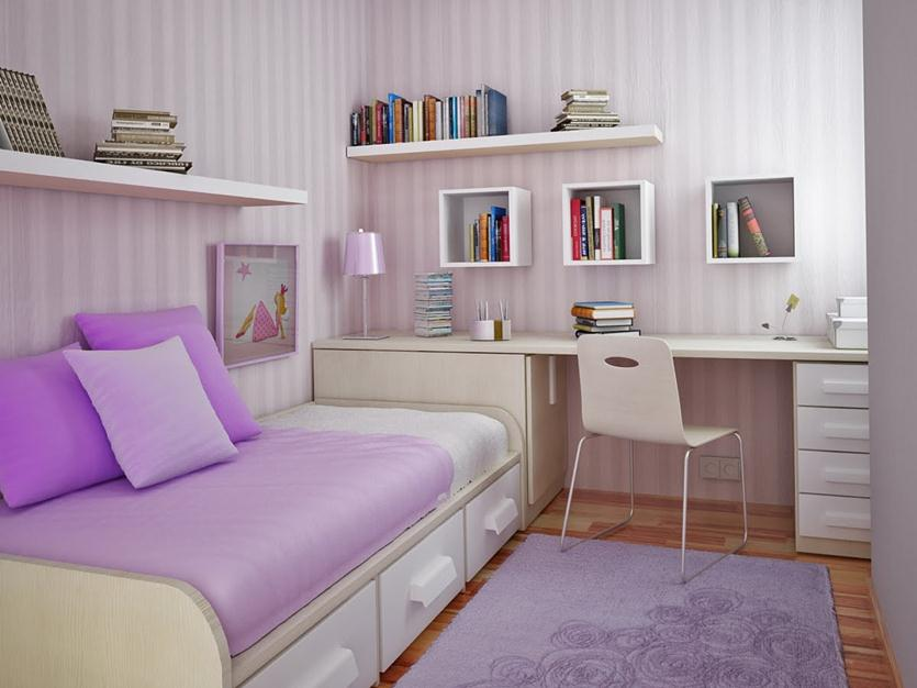 Attractive Small Bedroom With Purple Color