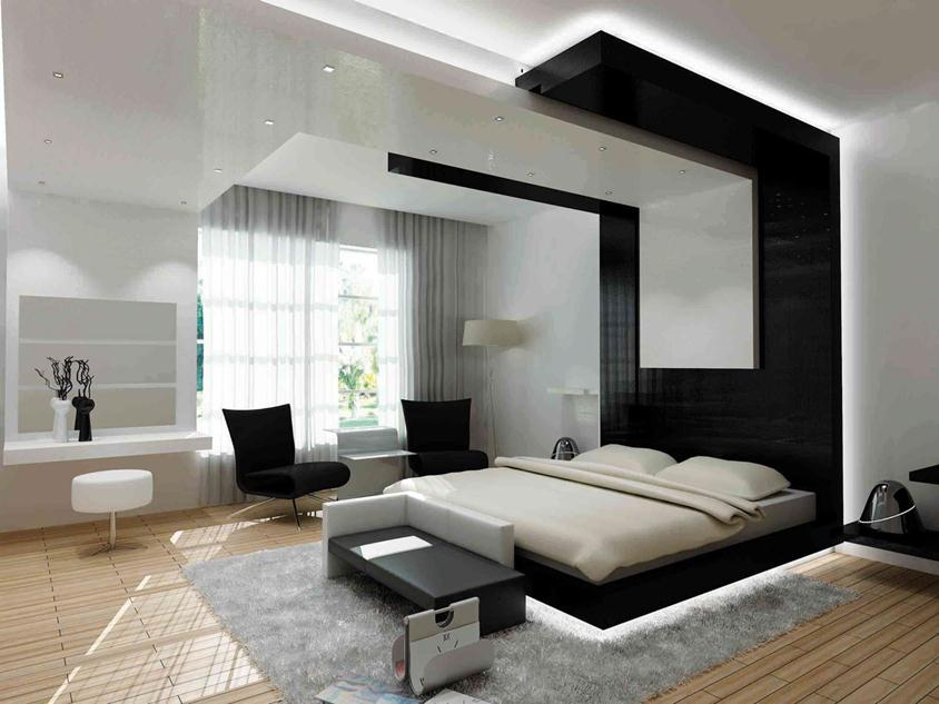 Elegant Black White Modern Bedroom Idea