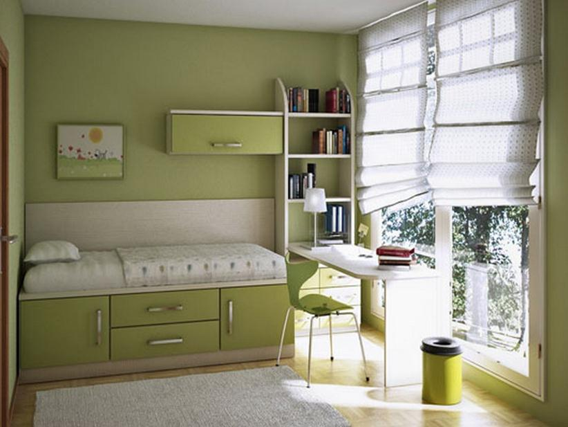 Minimalist Children Bedroom Set Design With Green Color