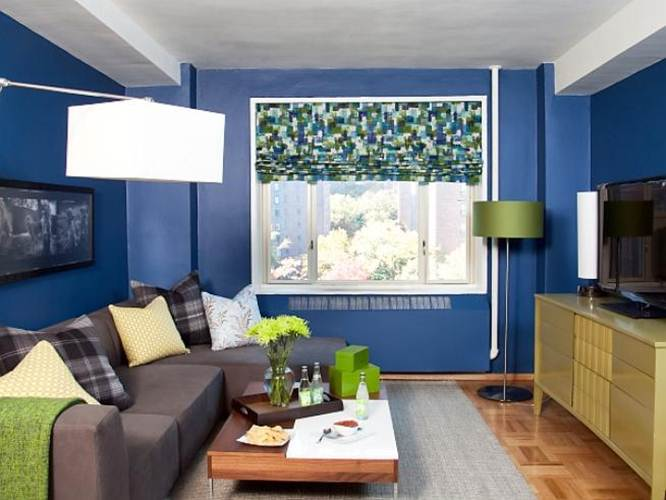 Modern Living Room With Blue Paint