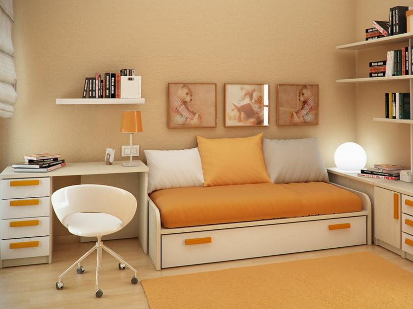 Orange Color Idea For Small Bedroom Decor