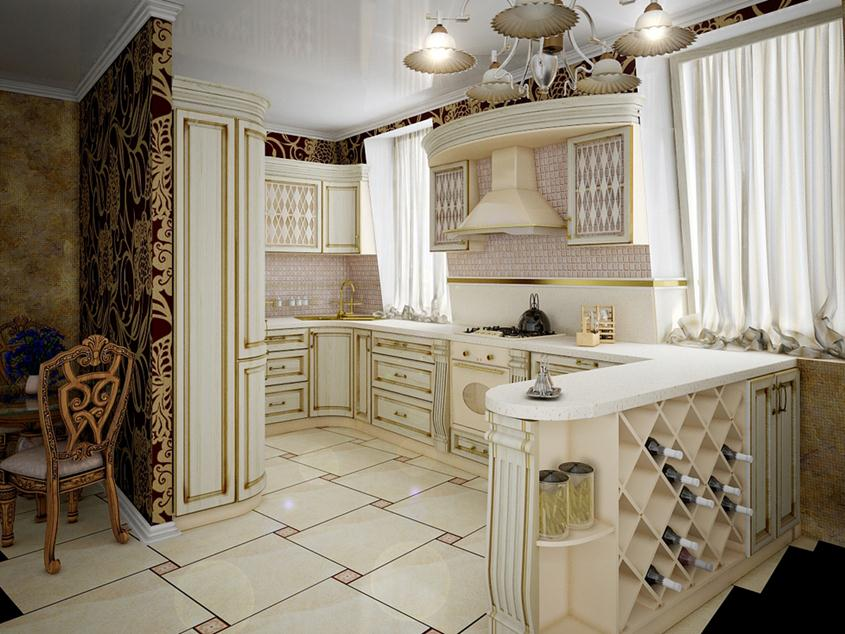 White Color Idea For Luxury Traditional Kitchen