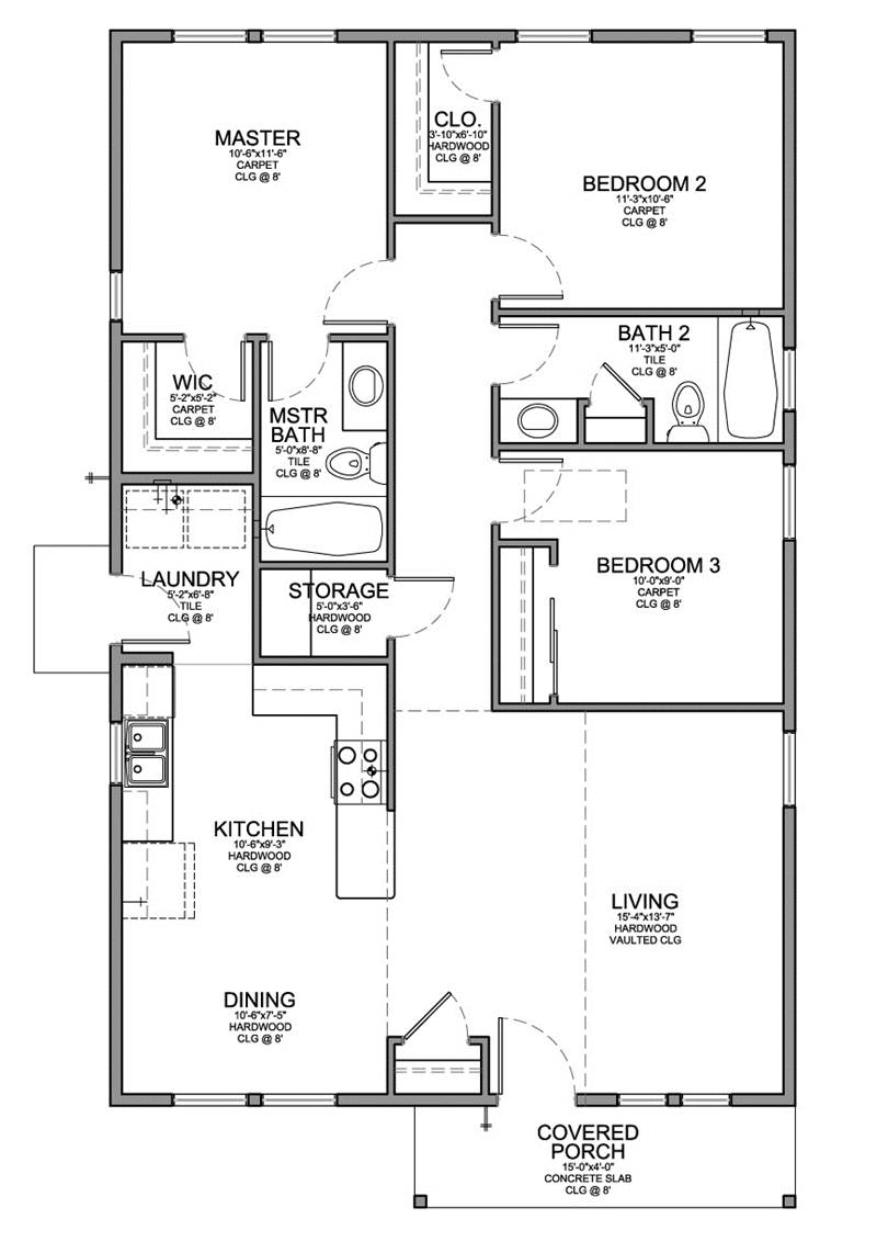 3 Bedroom In For Minimalist House Plan