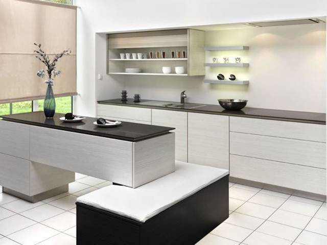 Black White Color Combination For Modern Kitchen