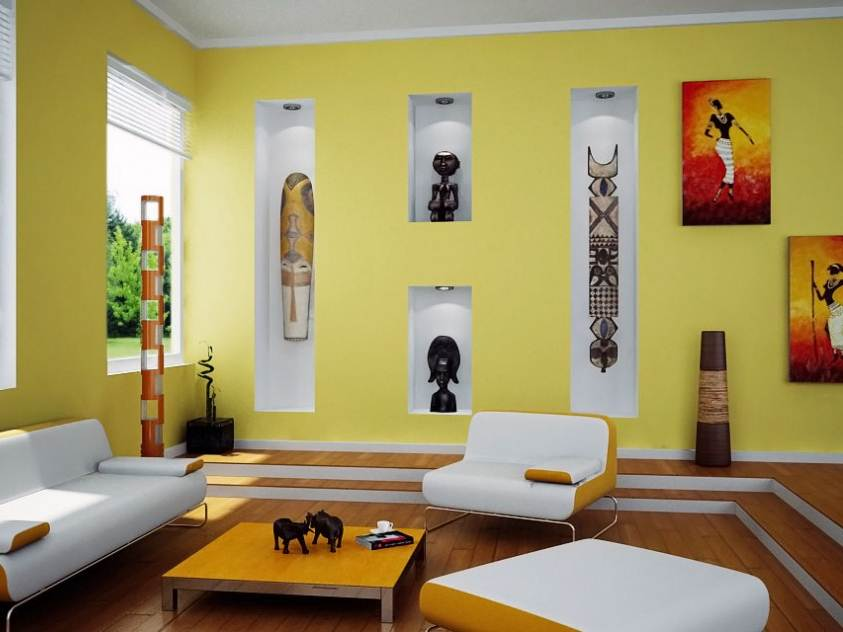 Bright Yellow Home Interior Paint Idea