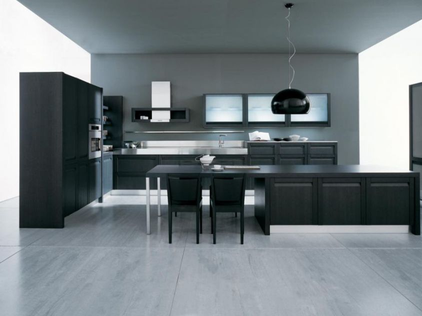 Elegant Black Color For Modular Kitchen Furniture