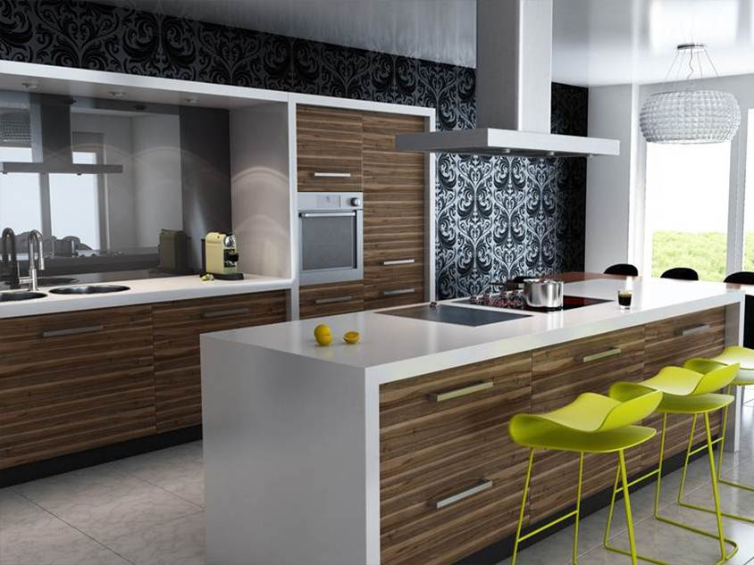 Elegant Kitchen Design With U-shape