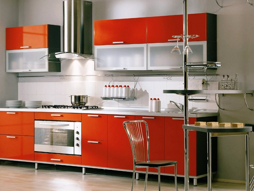 Elegant Modular Kitchen With Orange Cabinet