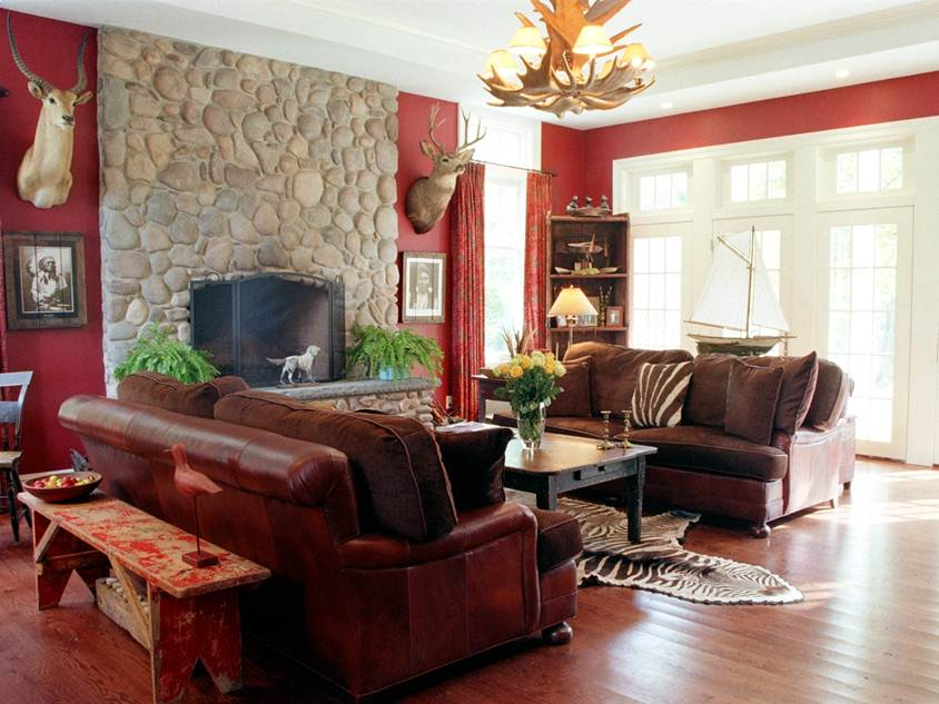 Elegant Red Living Room Paint Design