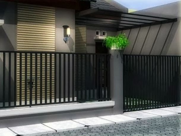 House Iron Fence Design With Black Color