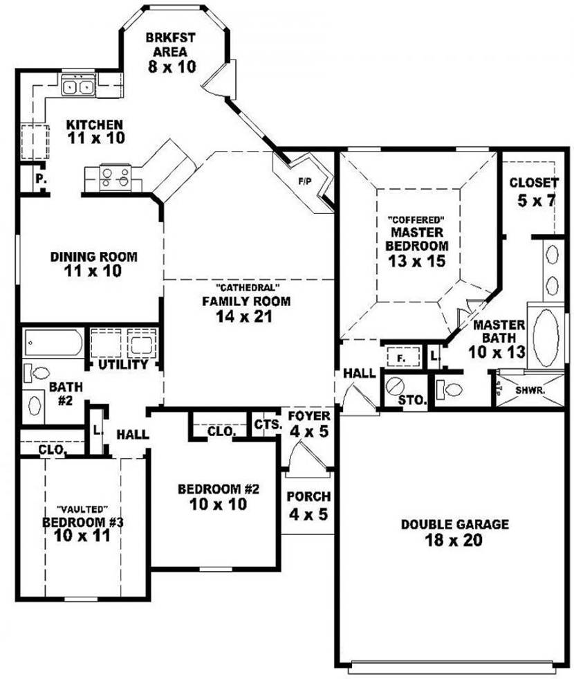 Modern House Designs And Floor Plans Free Unique Pleasing: Small House Plan With 3 Bedrooms