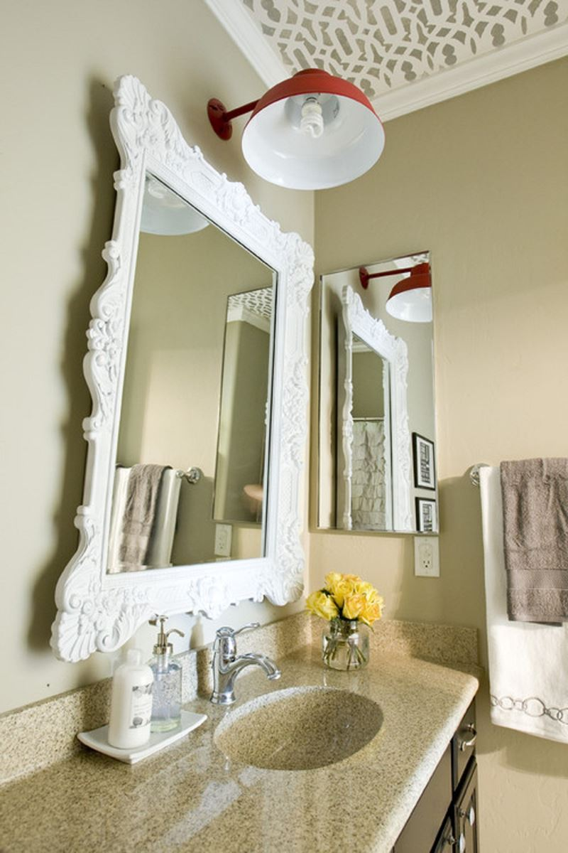 ... Mirror Idea To Beautify Bathroom Interior Minimalist Bathroom Mirror  Decorating ...