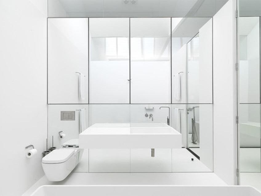 Nice Mirror Idea For White Bathroom