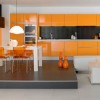 Orange Color Idea For Modern Kitchen