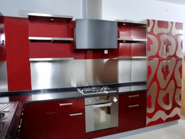 Red Color Idea For Modern Kitchen