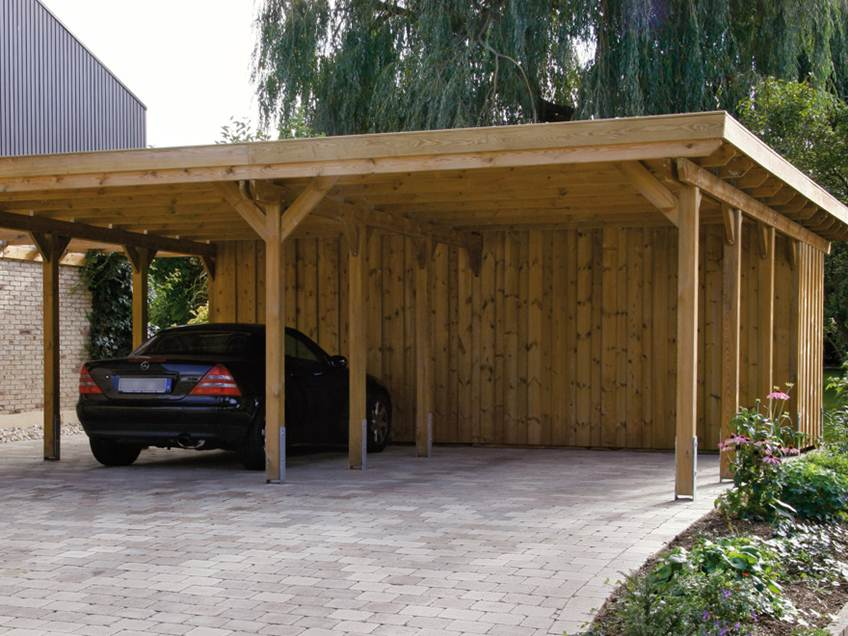 Simple Wooden Roof Carport Inspiration