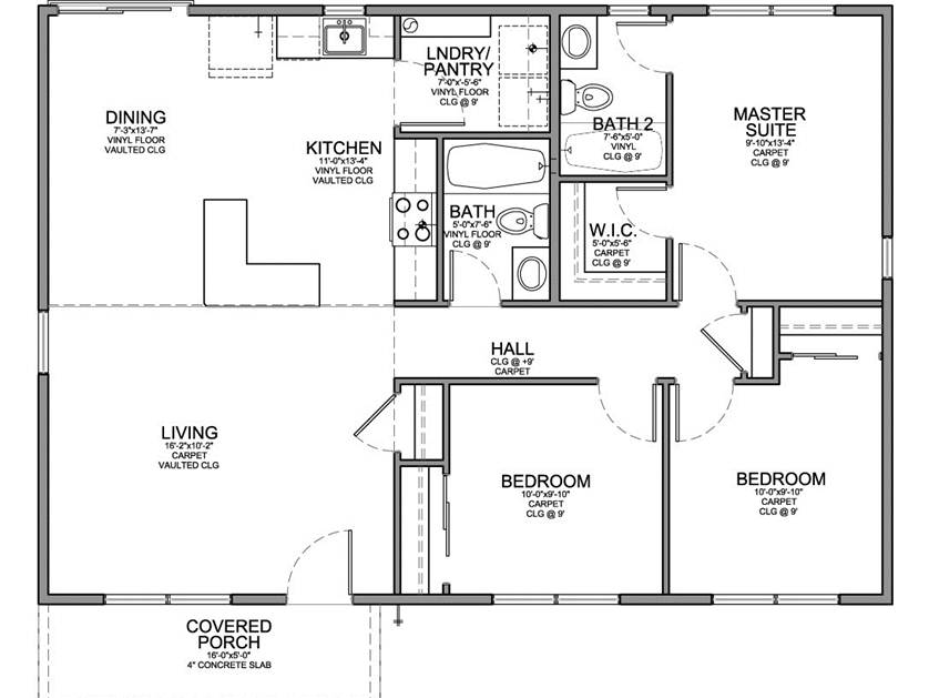 Small House Plan With 3 Bedrooms