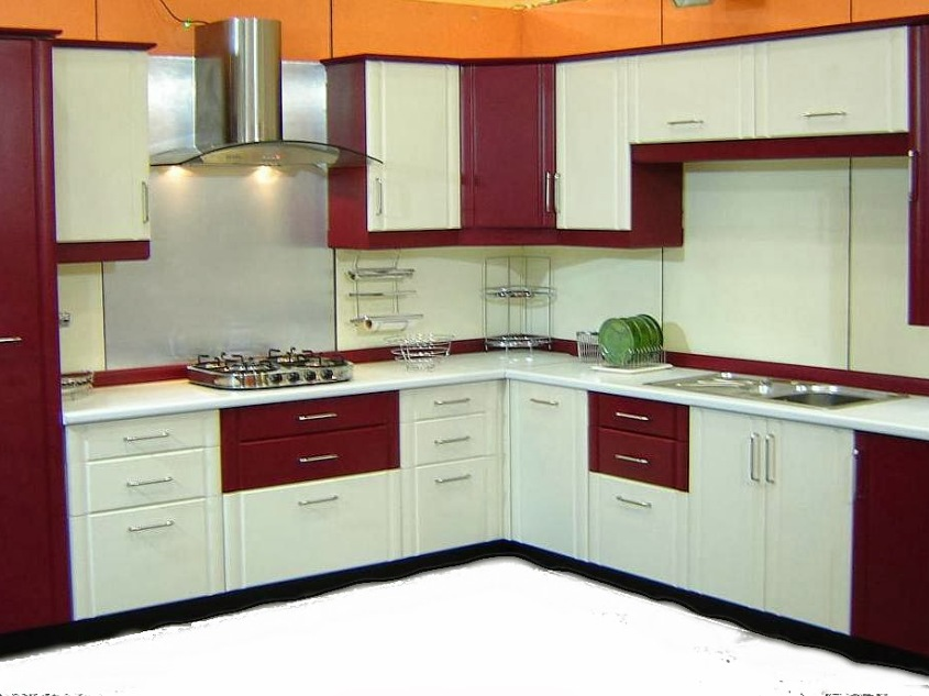 White And Red Modern Kitchen Color