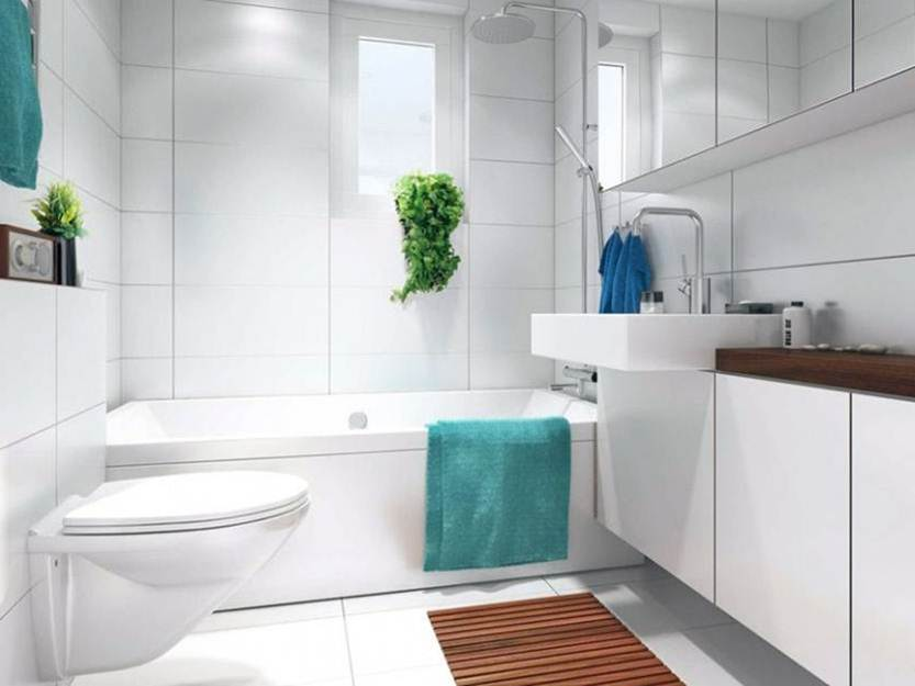 White Bathroom With Simple Minimalist Interior
