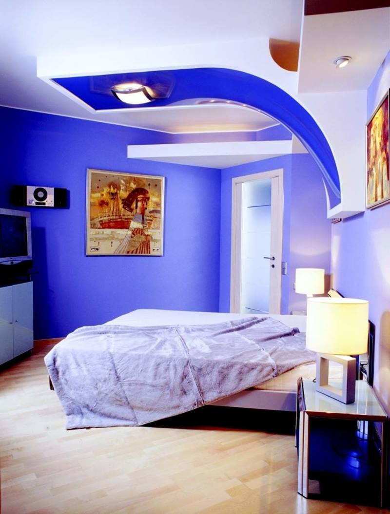 cool minimalist bedroom with blue paint - Blue Bedroom Paint Colors