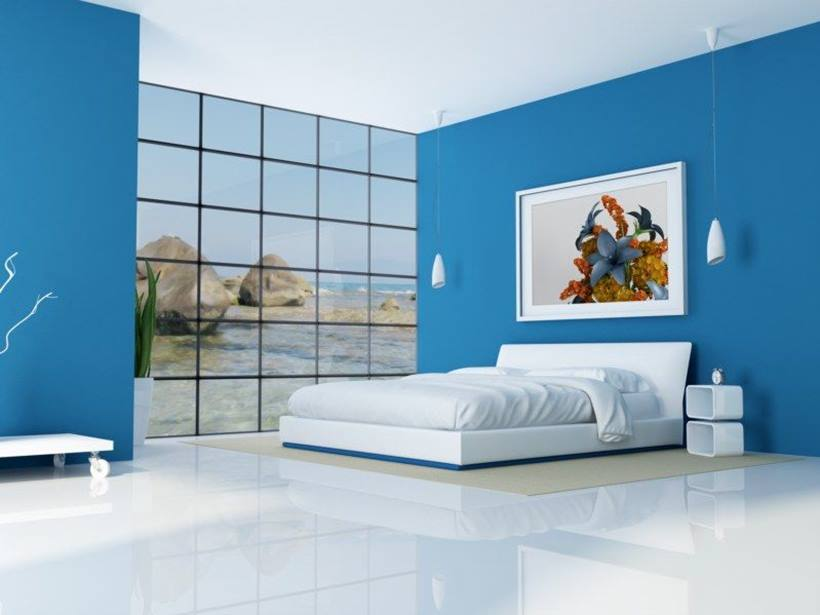Elegant Blue White Paint For Minimalist Bedroom