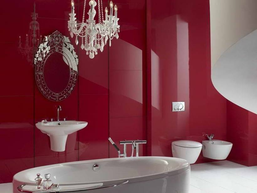 Elegant Red Ceramic For DIY Bathroom