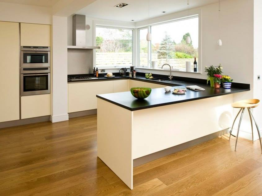 Modern Kitchen Design With Wooden Floor