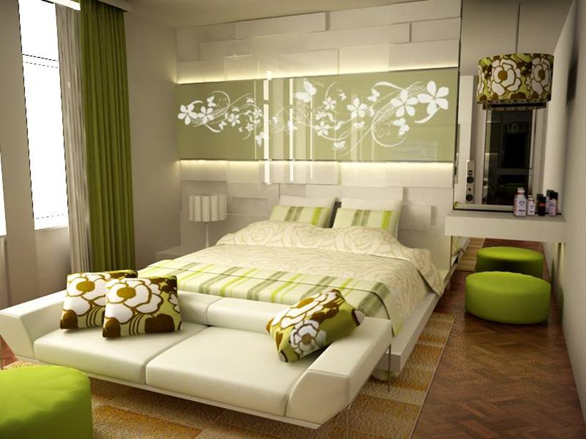 Simple Minimalist Bedroom With Green Color